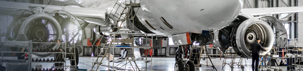 Maintenance of passenger aircraft in hanger